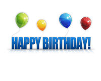 Le joyeux anniversaire monte en ballon le fond 3D Photo libre de droits