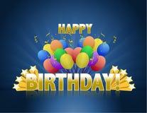 Le joyeux anniversaire monte en ballon le signe de logo Image libre de droits