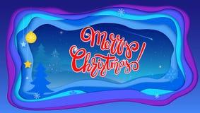 Le joyeux fond de fête de Noël avec le lettrage et l'hiver aménagent en parc Couches multi réalistes, découpage du papier 3d Photos libres de droits