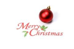 Le Joyeux Noël avec l'espace blanc d'ornement de boule de décoration souhaite Photo libre de droits