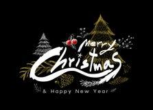 Le Joyeux Noël et la bonne année conçoivent sur le fond noir Images libres de droits