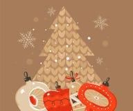 Le Joyeux Noël et la bonne année d'abrégé sur tiré par la main vecteur chronomètrent des illustrations de bande dessinée saluant  illustration de vecteur