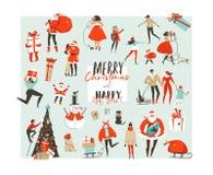 Le Joyeux Noël et la bonne année d'abrégé sur tiré par la main vecteur chronomètrent la grande scénographie de collection d'illus Image stock