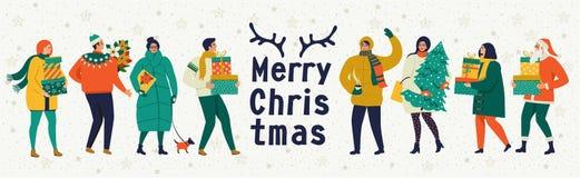 Le Joyeux Noël et la bonne année dirigent la carte de voeux avec des jeux et des personnes d'hiver Calibre de célébration avec jo illustration libre de droits