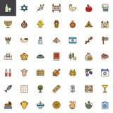 Le judaïsme a rempli ensemble d'icônes d'ensemble illustration libre de droits
