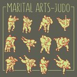 Le judo pose le sport d'arts martiaux illustration libre de droits
