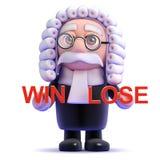 le juge 3d décide de la victoire ou perd Photo stock