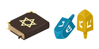 Le juif et le sevivon musulmans d'église de christianisme de livre de bible de juif de source de l'Islam de tradition jouent l'hi illustration stock