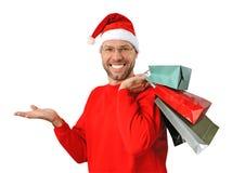 Le julman som slitage en santa hatt Fotografering för Bildbyråer