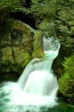 Le jumeau tombe cascade à écriture ligne par ligne en gorge de Lynn Image stock