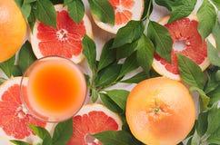 Le jus coloré de rose de fruit avec des pamplemousses et le vert part en tant que fond sain frais d'été Vue supérieure, plan rapp Photographie stock