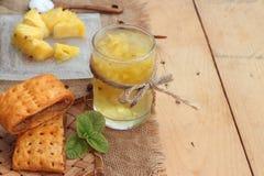 Le jus d'ananas et l'ananas frais avec du pain ont fait cuire au four avec le pineap Images libres de droits