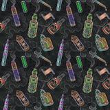 Le jus d'e-cigarettes de Vape opacifie le modèle sans couture de craie de couleur Photos stock