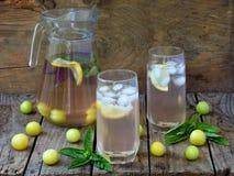 Le jus ou la boisson fraîche avec des glaçons et une tranche de citron avec une prune et un basilic jaunes photos libres de droits