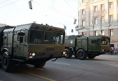 Le 9K720 Iskander est un système de missile balistique à courte portée mobile Images libres de droits