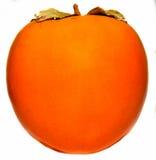 Le kaki orange (kaki de kaki, de Diospyros), se ferment, fond d'isolement et blanc Photographie stock