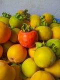 Le kaki organique mûr porte des fruits dans une pile au marché local d'agriculteurs fond de kaki Photo libre de droits