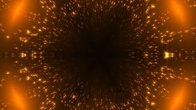 Le kaléidoscope radial d'or avec le scintillement se tient le premier rôle sur le noir, beaucoup de particules, contexte de céléb banque de vidéos