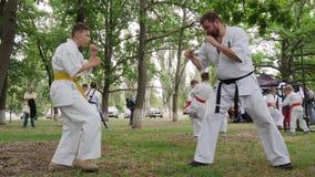 Le karaté d'entraîneur dépensent des arts martiaux s'exerçant dans le parc, groupes que les enfants dans le kimono participent au banque de vidéos