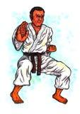 Le kata d'homme de karaté la puissance de Karaté-font, 2017 Image libre de droits