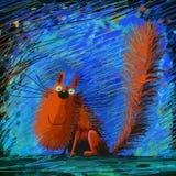 Le katten på kläckt bakgrund Royaltyfri Bild