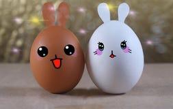 Le kawai différent de la peau deux eggs l'amitié Photos libres de droits
