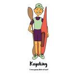 Le kayaker de sportif est un kayak et une palette dans sa main Photographie stock