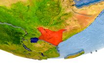 Le Kenya en rouge sur le modèle de la terre Photographie stock libre de droits