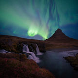 Le kirkjufell de paysage de l'Islande Image stock