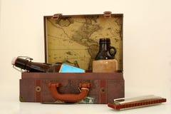 Le kit du voyageur de cru Images stock