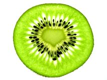 Le kiwi de forme d'amour découpe simple en tranches Images stock