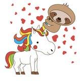 Le klaxon de la licorne d'équitation de paresse Illustration de Kawaii Carte de jour du ` s de St Valentine Animaux mignons images libres de droits