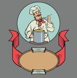 Le kocken med soppa Arkivfoto