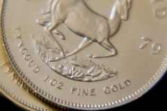 Le Krugerrand sud-africain 1oz affinent l'or image libre de droits