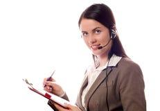 le kvinna för affärshörlurar med mikrofon arkivfoton