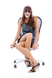 le kvinna för stolskontor Royaltyfri Fotografi