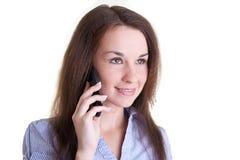 le kvinnabarn för mobil telefon Royaltyfria Bilder