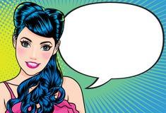 Le kvinnagesten som talar framlägga något med konst för prickbakgrundspop stock illustrationer