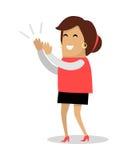 Le kvinnan applåderar den plana vektorillustrationen stock illustrationer