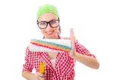 Le kvinnan med rullen som är klar för att renovera Arkivfoton