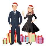 Le kvinnan och mannen gratulera det lyckliga nya året royaltyfri illustrationer