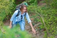 Le kvinnan som klättrar på en bergbana V?xter och tr?d i bakgrunden Aktiv sportar och turism close upp royaltyfri bild