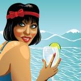 Le kvinnligt hållande exponeringsglas av rent vatten. Illust Vektor Illustrationer