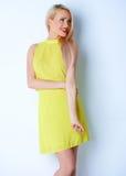 Le långt haired blont posera för kvinna Royaltyfria Foton