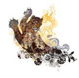 Le léopard coloré texturisé grunge éclabousse Images stock