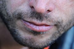 Le labbra dei bei uomini sottili e fine non rasata leggera del fronte fotografie stock