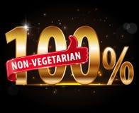 le label 100% d'argent de nourriture de non-végétarien avec les pouces rouges lèvent la typographie Photo libre de droits