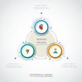 Le label de cercle de l'infographics 3D de vecteur avec des flèches signent et l'option 3 Photos stock
