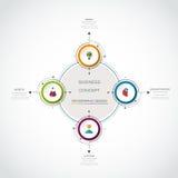 Le label de cercle de l'infographics 3D de vecteur avec des flèches signent et l'option 3 Images stock