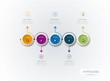 Le label de cercle de l'infographics 3D de vecteur avec des flèches signent et 5 options Image stock